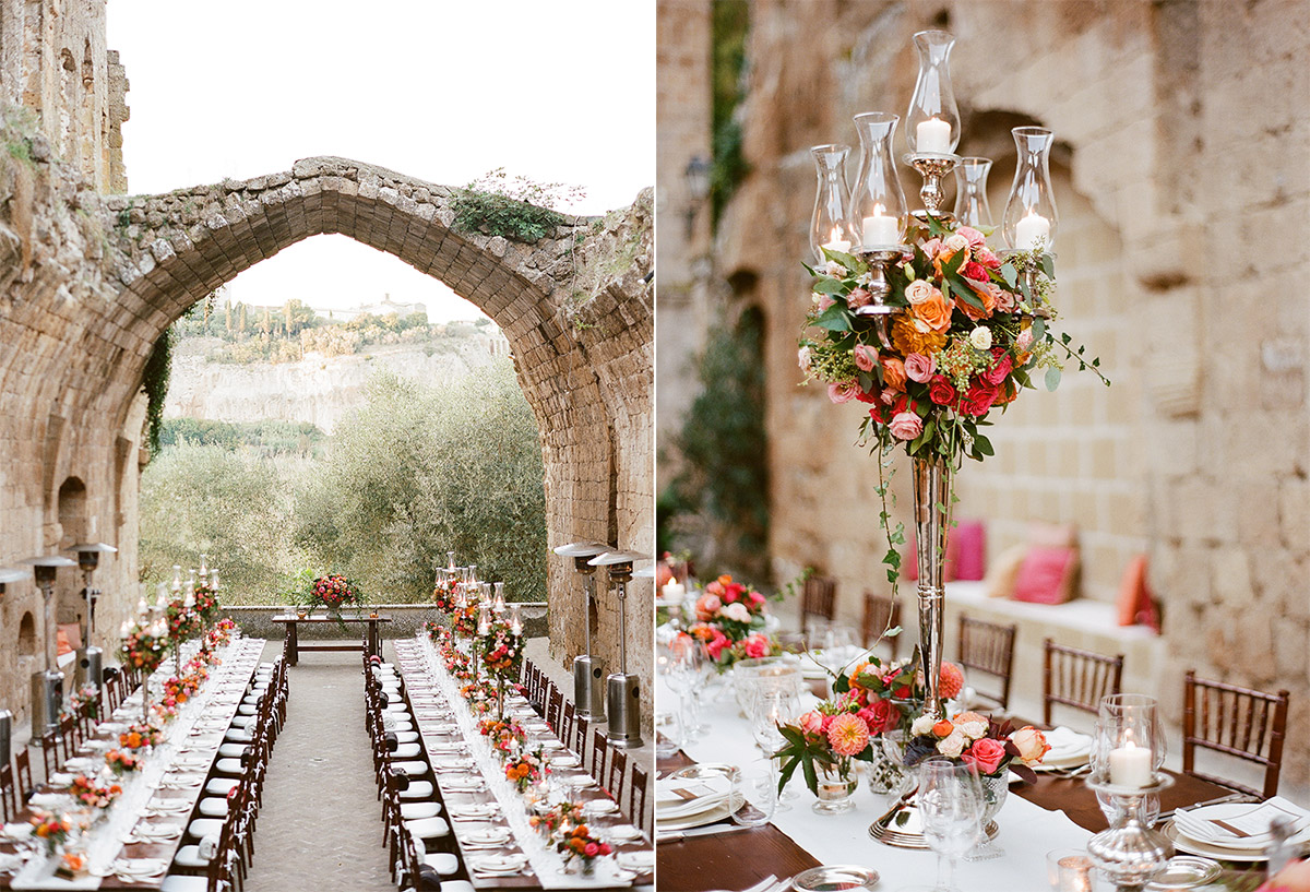 wedding-dinner-tables-with-red-pink-orange-floral-centerpieces