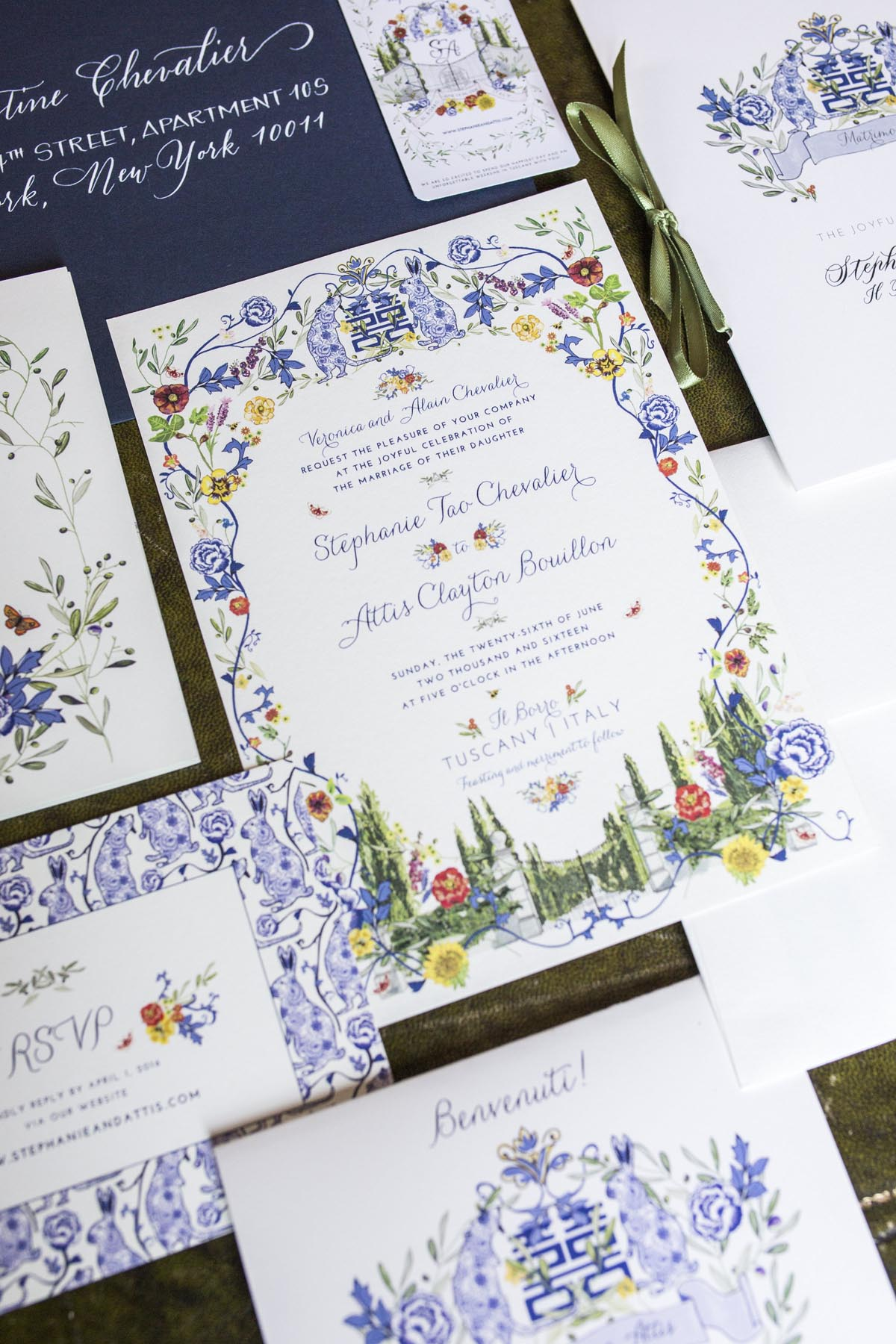 Tuscany-wedding-invitation-printed-paper-suite-with-blue-and-white-chinese-print-motif-mixed-with-tuscan-cypress-tress