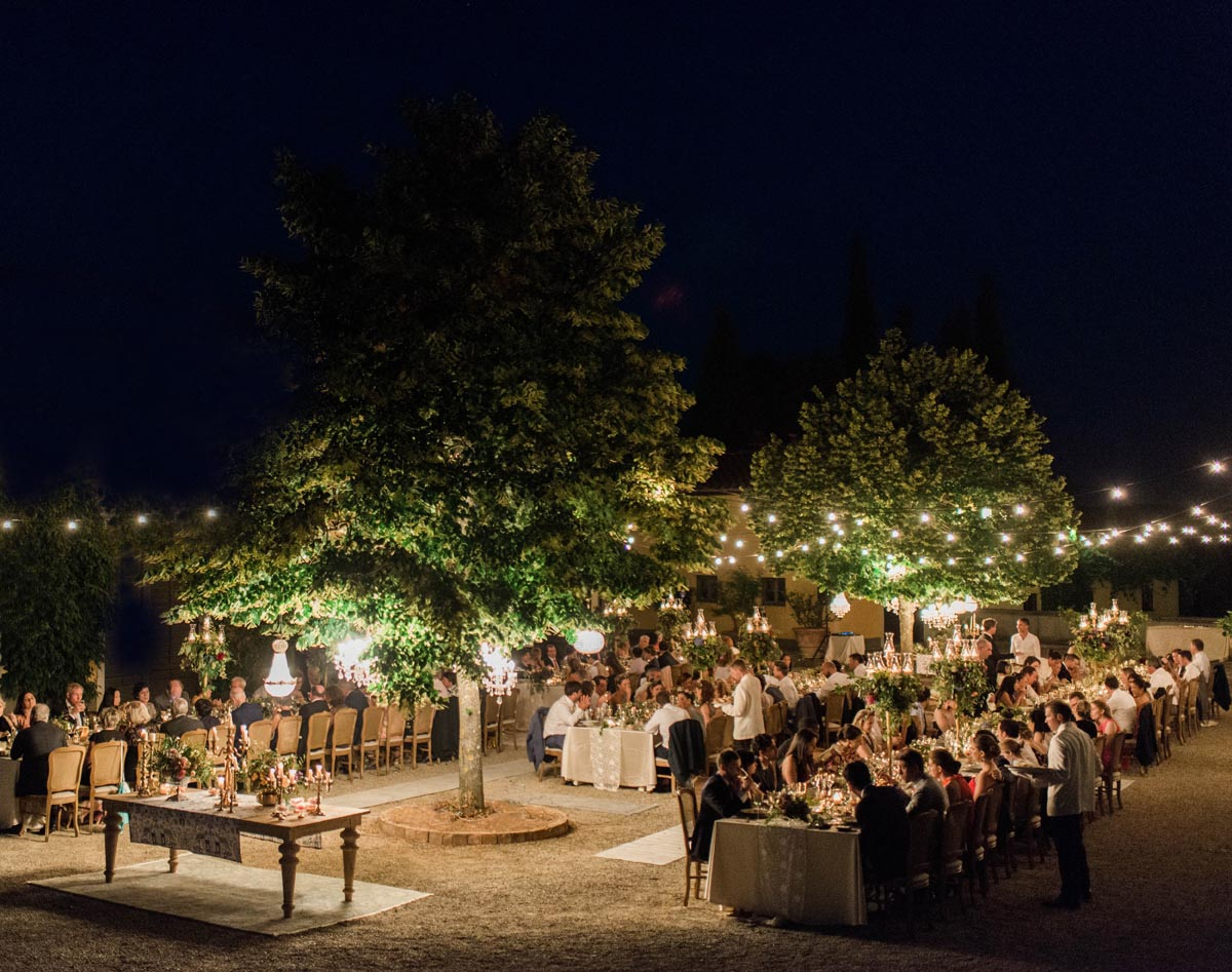 wedding dinner reception in a Tuscan vineyard