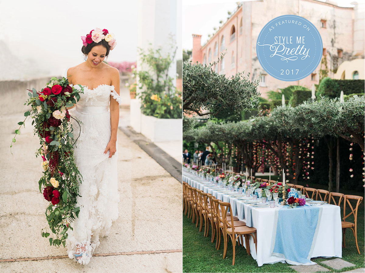 Boho Chic Catholic wedding on the Amalfi Coast in Ravello