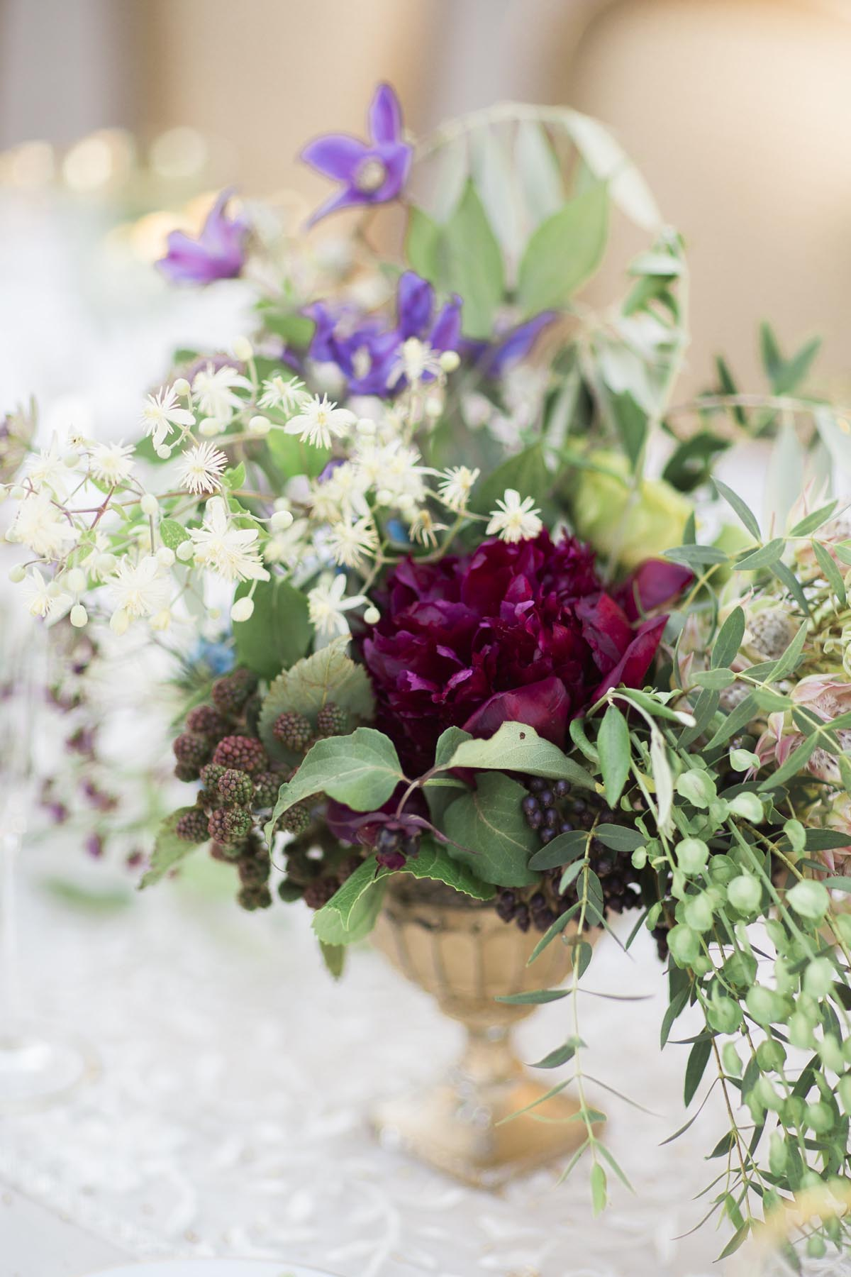 burgundy-peonies-lace-runner-gold-vase-Tuscany-wedding-centerpiece