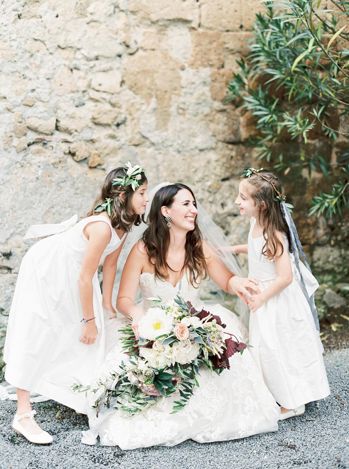 flowers-girls-for-a-Tuscany-Italy-wedding-with-olive-leaf-tiara-wreaths