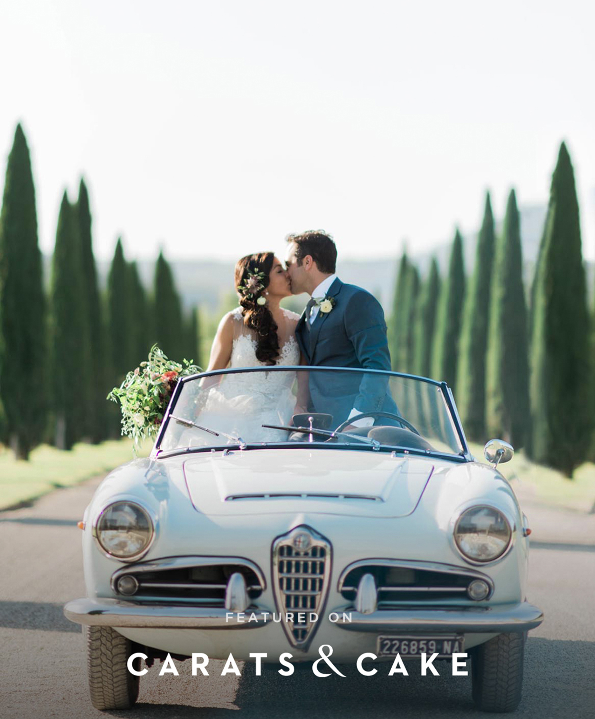 Alfa-Romeo-vintage-convertible-wedding-car-Tuscany-with-cypress-tress